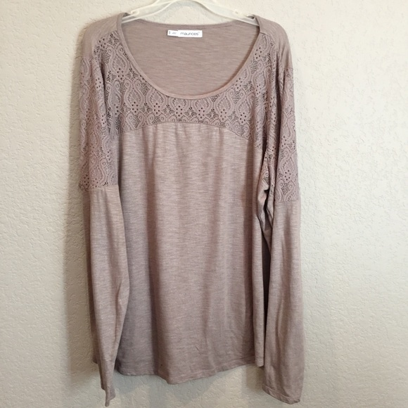 a73020995fd Maurices Tops | Brown Lace Tunic Heather Sparkle Top | Poshmark